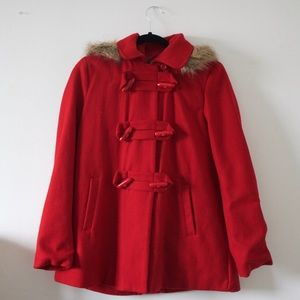 Forever 21 Red Coat w/ a Fur Hoody
